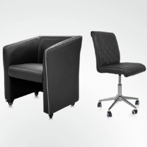 Combo Elegant Customer & Luxury Technician Chair Black