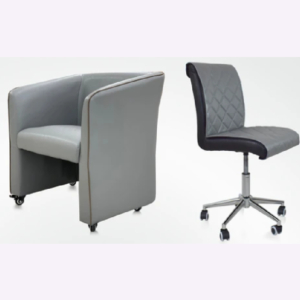 Combo Elegant Customer & Luxury Technician Chair Silve