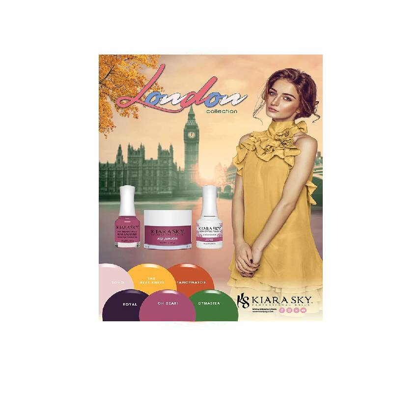 Kiara Sky 3in1 Dipping Powder + Gel Polish + Nail Lacquer, London Collection, Full line of 6 Colors (from DGL591 to DGL596)