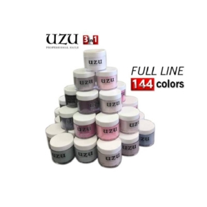 Uzu 3in1 Dipping Powder + Gel Polish + Nail Lacquer (Matching DC Duo Gel), Full Line of 144 Colors (from A 001 to A 144)