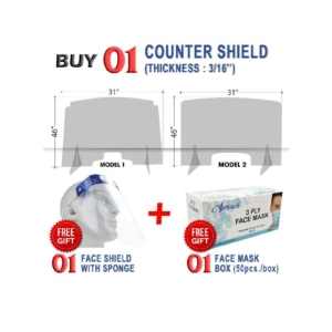 Counter Shield 46''W x 31''H, Thickness 3/16'', Buy 01 Pc Get 01 Pc Airtouch Disposable Face Mask Box & 01 Pc Face Shield with Sponge Free