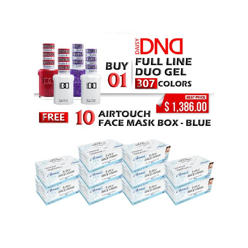 DND Duo Gel, 0.5oz, Full Line 307 Colors, Buy 1 Full Line Get 10 boxes Airtouch Disposable 3 Ply Face Mask FREE