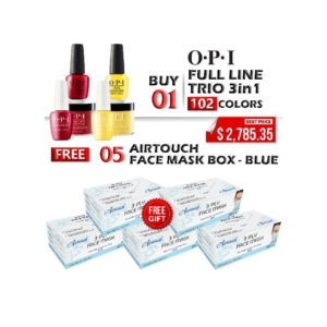 OPI 3in1 Dipping Powder + Gel Polish + Nail Lacquer, Full Line of 102 Colors, Buy 01 Get 05 Boxes Airtouch Disposable 3 Ply Face Mask Free