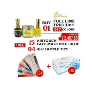 iGel 3in1 Acrylic/Dipping Powder + Gel Polish + Nail Lacquer, Dip & Dap Collection, Full Line Of 247 Colors, Buy 1 Full Line Get 15 Boxes Airtouch Disposable 3 Ply Face Mask Free