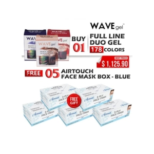 Wave Gel Gel Polish + Nail Lacquer, 0.5oz, Full Line of 178 Colors (From 050 To 228, Excluded: 070), Buy 01 Get 05 Boxes Airtouch Disposable 3 Ply Face Mask Free