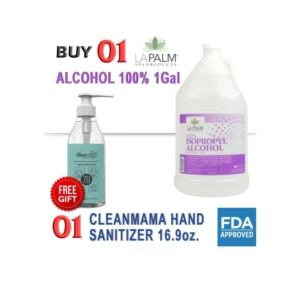 La Palm 100% Isopropyl Alcohol, 1Gal, Buy 01 100% Isopropyl Alcohol 1Gal Get 01 Pc Cleanmama Sanitizer Gel 16.9 Oz Free