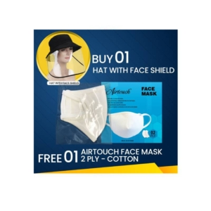 Hat With Face Shield, Buy 01pc Get 01 Pc Airtouch Face Mask Cotton Free