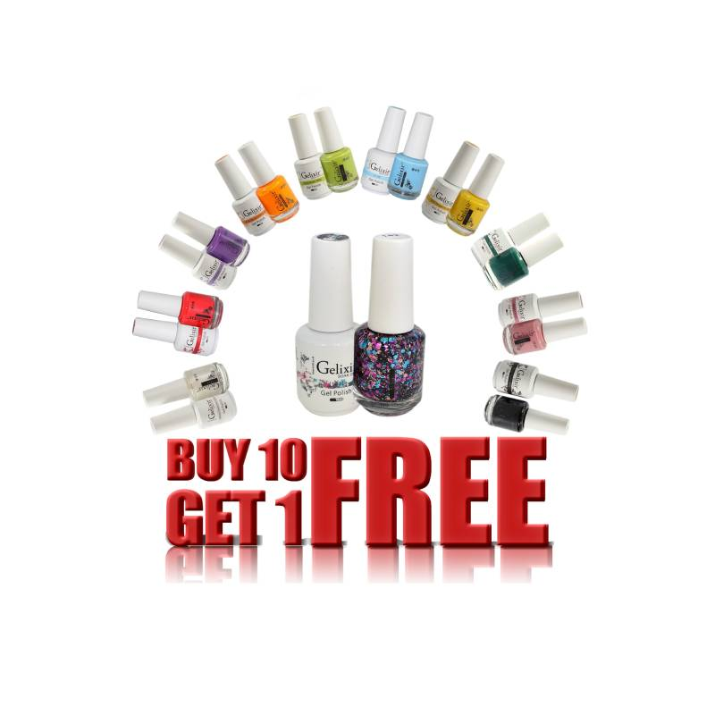 Gelixir Nail Lacquer And Gel Polish, Full Line of 180 colors, Buy 10 Get 1 FREE