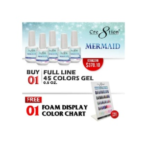 Cre8tion Mermaid Gel Polish, Full Line of 45 Colors (from MM01 to MM45, Price: $8.29/pc), Buy 1 Get 1 Counter Foam Display Free