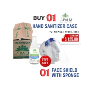 La Palm Hand Sanitizer (Clear Bottle) Gel, 8 Oz, Case, Buy 01 Case Get 01 Pc Face Shield with Sponge Free