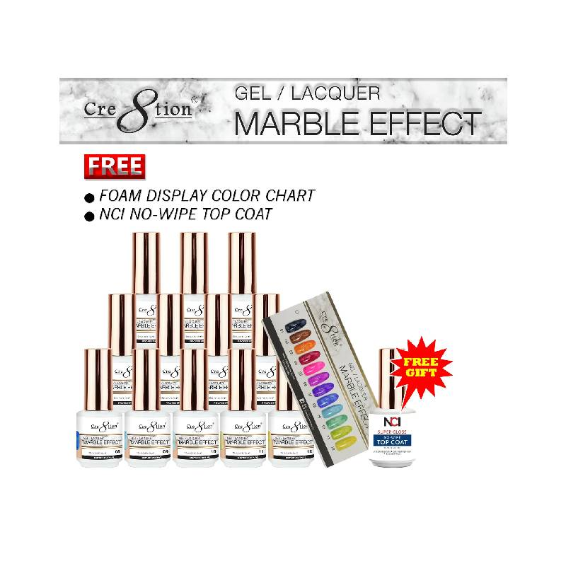 Cre8tion Marble Effect Gel / Lacquer, 0.5 Oz, Full line of 12 colors (from 01 to 12) KK1010