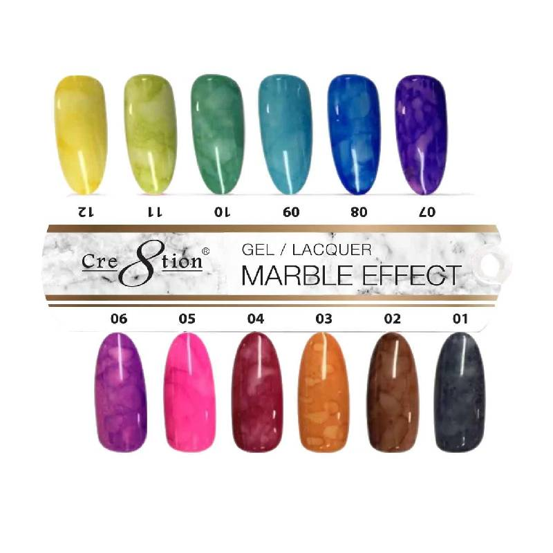 Cre8tion Marble Effect Gel Polish, 0.5oz, Tips Sample KK0827