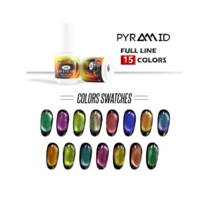 Pyramid Gel, 9D Cat Eye Gel Collection, Full Line Of 15 Colors (From C-001 To C-015), 0.5oz OK1004VD