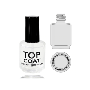 Empty Glass Bottle, Top Coat With Cap 0.5oz