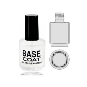 Empty Glass Bottle Base Coat With Cap 0.5oz