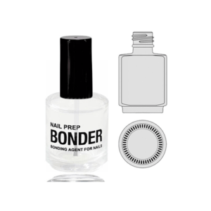 Empty Glass Bottle Nail Prep Bonder With Cap 0.5oz